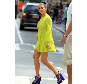 Look of the Day: Kim Kardashian Bright Yellow and Purple