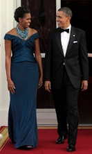 Michelle Obama in Teal Marchesa at State Dinner