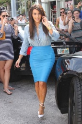 Kim K's Bootylicious Blue Leather Skirt