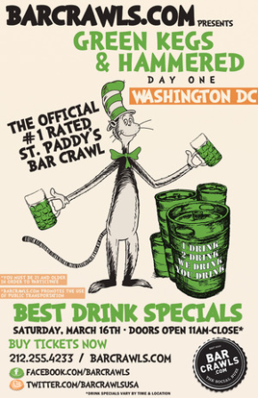 3/16: Green Kegs & Hammered – Pre-St. Patrick's Day BarCrawls